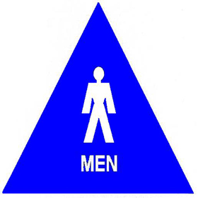 Trimco Signage Title 24 Restroom Sign Men Triangle With 12 Inch Sides